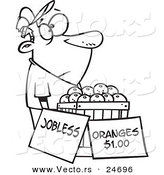 Vector of a Cartoon Unemployed Man Trying to Sell Oranges - Outlined Coloring Page by Toonaday
