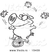 Vector of a Cartoon Unicycling Pig Juggling Fish - Coloring Page Outline by Toonaday