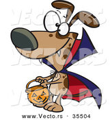 Vector of a Cartoon Vampire Dog Trick-or-Treating on Halloween by Toonaday