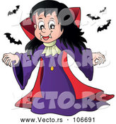 Vector of a Cartoon Vampire Girl with Bats by Visekart
