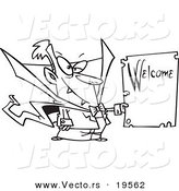 Vector of a Cartoon Vampire Holding a Welcome Sign - Outlined Coloring Page by Toonaday