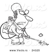 Vector of a Cartoon Victorious Weed Killer Black and White Outline - Outlined Coloring Page by Toonaday