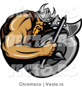 Vector of a Cartoon Viking Warrior Mascot Armed with an Axe by Chromaco