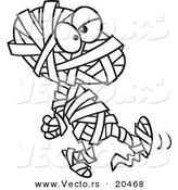 Vector of a Cartoon Walking Mummy - Coloring Page Outline by Toonaday