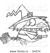Vector of a Cartoon Warted Witch on Her Broomstick - Outlined Coloring Page by Toonaday