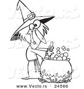 Vector of a Cartoon Warted Witch Stirring Her Potion - Outlined Coloring Page by Toonaday