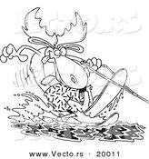 Vector of a Cartoon Waterskiing Moose - Outlined Coloring Page by Toonaday