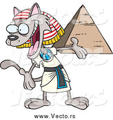 Vector of a Cartoon Welcoming Egyptian Cat Presenting a Pyramid by Toonaday