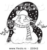 Vector of a Cartoon Welcoming Snowman - Coloring Page Outline by Toonaday