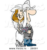 Vector of a Cartoon Western Cowboy Bride and Cowgirl Groom During Wedding by Toonaday