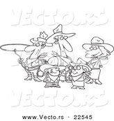 Vector of a Cartoon Western Cowboy Family - Coloring Page Outline by Toonaday