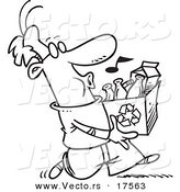 Vector of a Cartoon Whistling Man Carrying a Carton to a Recycle Center - Coloring Page Outline by Toonaday