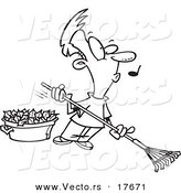 Vector of a Cartoon Whistling Man Raking Leaves - Coloring Page Outline by Toonaday