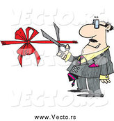 July 10th, 2015: Vector of a Cartoon White Businessman Performing a Ribbon Cutting Ceremony by Ron Leishman