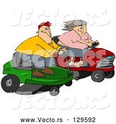 Vector of a Cartoon White Couple, a Guy and Lady, Racing Eachother on Riding Lawn Mowers by Djart