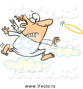 Vector of a Cartoon White Male Angel Chasing His Halo by Toonaday
