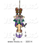 Vector of a Cartoon White Male Climber Suspended from Rope by Toonaday