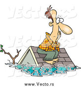 Vector of a Cartoon White Male Flood Survivor Sitting on His Roof Waiting for Rescue by Toonaday