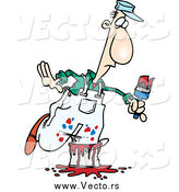 Vector of a Cartoon White Male Painter Stepping in a Bucket by Ron Leishman