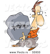 Vector of a Cartoon White Man Carrying a Heavy Problem Rock by Ron Leishman