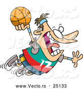 Vector of a Cartoon White Man Flying with Basketball by Ron Leishman