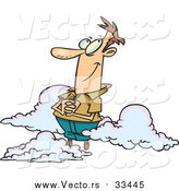 Vector of a Cartoon White Man in the Clouds by Ron Leishman