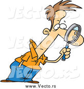 July 13th, 2015: Vector of a Cartoon White Man Leaning Forward and Examining with a Magnifying Glass by Ron Leishman