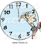 January 11th, 2015: Vector of a Cartoon White Man on a Daylight Savings Clock by Ron Leishman