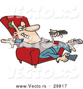 Vector of a Cartoon White Man Sitting in a Recliner and Holding Many Remote Controls by Toonaday