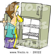 Vector of a Cartoon White Man Staring in an Empty Fridge by Ron Leishman