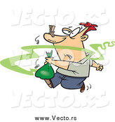 Vector of a Cartoon White Man Taking out Smelly Garbage by Toonaday