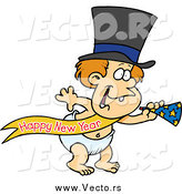 Vector of a Cartoon White New Years Baby with a Horn by Toonaday