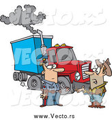 Vector of a Cartoon White Police Man Assisting a Trucker with a Broken down Rig by Toonaday