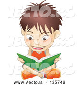 Vector of a Cartoon White School Boy Sitting on a Floor and Reading a Green Book by AtStockIllustration