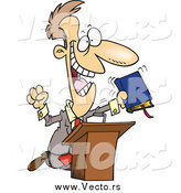 August 2nd, 2015: Vector of a Cartoon White Televangelist Man Preaching at a Podium by Toonaday
