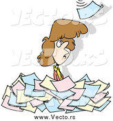 Vector of a Cartoon White Woman Standing in a Pile of Paperwork by Toonaday