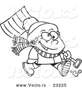 Vector of a Cartoon Winter Boy Carrying a Snow Shovel - Coloring Page Outline by Toonaday