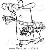 Vector of a Cartoon Winter Man Carrying Firewood - Outlined Coloring Page by Toonaday