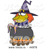 Vector of a Cartoon Witch Boiling Tentacles in a Cauldron by Toonaday