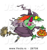 Vector of a Cartoon Witch Flying on Broom with Pumpkin Container During Halloween by Toonaday