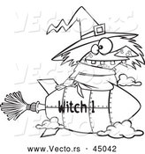 Vector of a Cartoon Witch Flying on Fast Rocket Broomstick - Outline by Toonaday