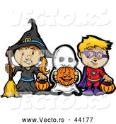 Vector of a Cartoon Witch, Ghost, and Super Hero by Chromaco
