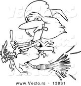 Vector of a Cartoon Witch Halting Her Broomstick - Coloring Page Outline by Toonaday