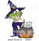 Vector of a Cartoon Witch Mixing Potion in Cauldron over a Fire on Halloween by Toonaday