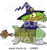 Vector of a Cartoon Witch Riding Rocket Styled Broomstick by Toonaday
