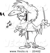 Vector of a Cartoon Witchy Music Teacher - Coloring Page Outline by Toonaday