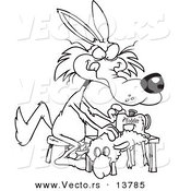 Vector of a Cartoon Wolf Sewing a Sheep Costume - Coloring Page Outline by Ron Leishman