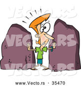 Vector of a Cartoon Woman Being Squished Between Two Big Rocks by Toonaday