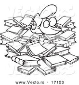 Vector of a Cartoon Woman Buried in Books - Coloring Page Outline by Toonaday