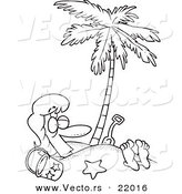 Vector of a Cartoon Woman Buried in Sand Under a Palm Tree - Outlined Coloring Page by Ron Leishman